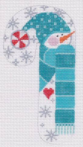 NEEDLEPOINT Handpainted CHRISTMAS Candy Cane Snowman Peppermint Danji