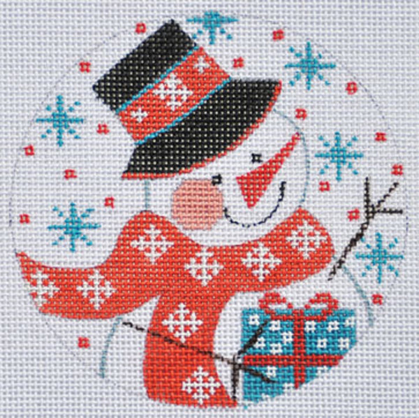 Needlepoint Handpainted CHRISTMAS Danji Ornament Snowman with Present