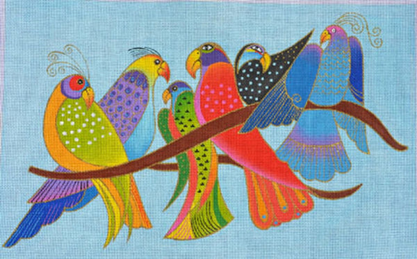 Needlepoint Handpainted Danji Songbirds Laurel Burch 16x10