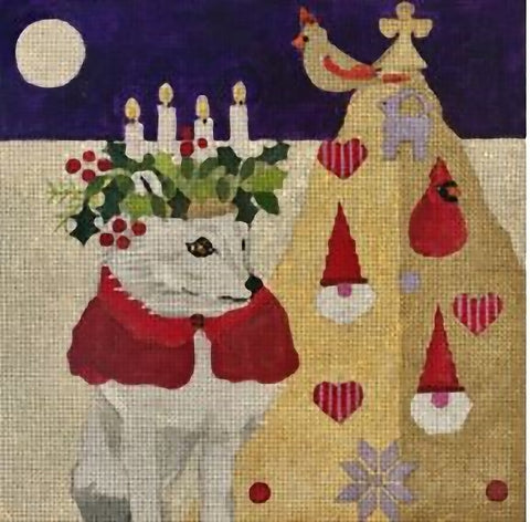Needlepoint Handpainted CHRISTMAS Melissa Prince St Lucia Fox 10x10