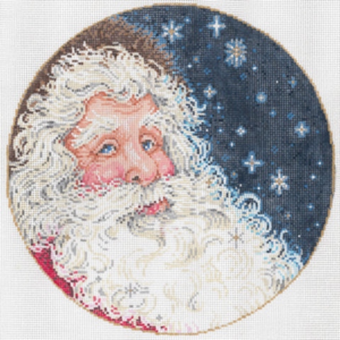 Needlepoint Handpainted Canvas SANDRA GILMORE Starlight Santa 8""