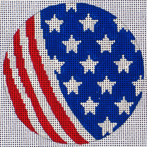 NEEDLEPOINT Handpainted Amanda Lawford AMERICA ORNAMENT Stars Stripes