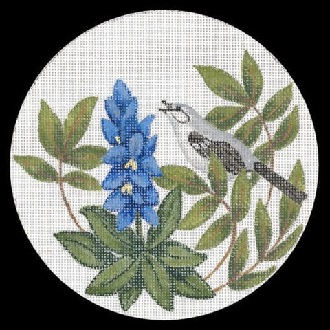 Needlepoint Handpainted Christmas TRUBEY Texas State Plant and Bird 6""