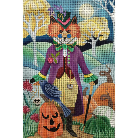 Needlepoint Handpainted Brenda Stofft HALLOWEEN Steampunk Fox 8x12