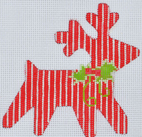 Needlepoint Handpainted CHRISTMAS Danji Striped Reindeer 4x4