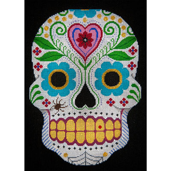 NEEDLEPOINT HandPainted JP Needlepoint HALLOWEEN Sugar Skulls Hearts Flowers