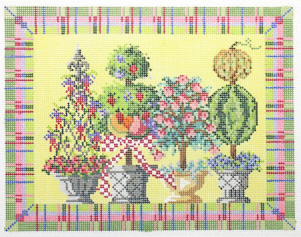 Needlepoint Handpainted Kelly Clark Summertime Topiaries 10x8