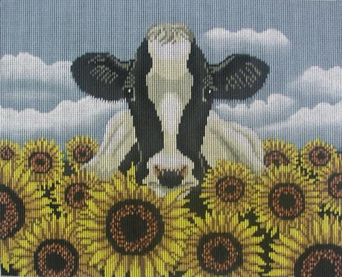 Needlepoint Handpainted Cooper Oaks Surrounded by Sunflowers 10x12