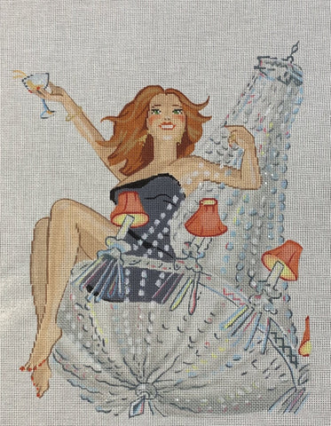 Needlepoint Handpainted Labors of Love SWINGING from the Chandelier 10x12