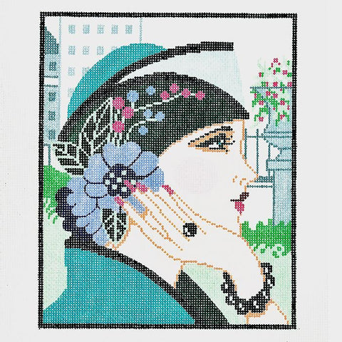 Needlepoint Handpainted LEE Vogue Lady Teal 8x10