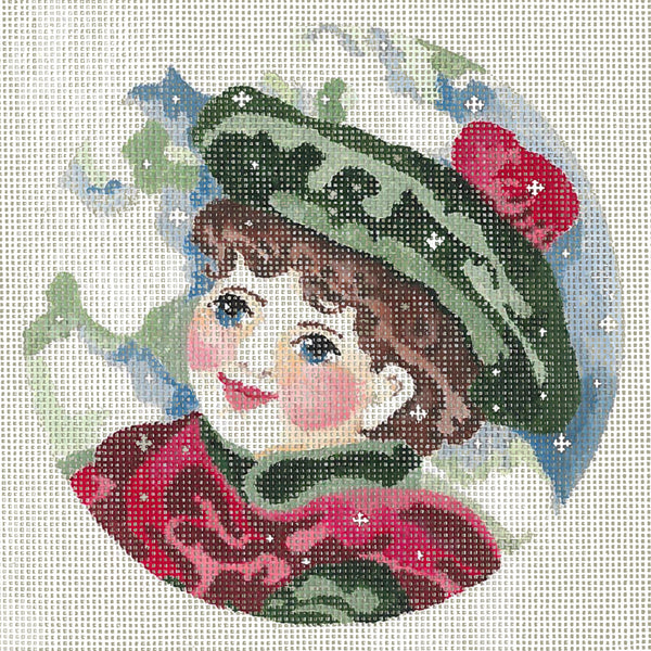 Needlepoint Handpainted Christmas JOY JUAREZ Teddy with Red Scarf 6""