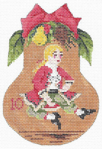 Needlepoint Handpainted Kelly Clark Christmas Pear Ten Lords + SG