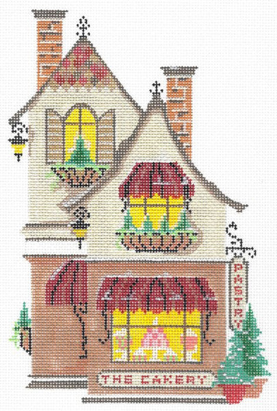 Needlepoint Handpainted KELLY CLARK Village The Cakery w/ Stitch Guide