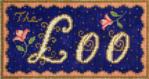 NEEDLEPOINT HandPainted Canvas Amanda Lawford THE LOO DC Designs 8x4