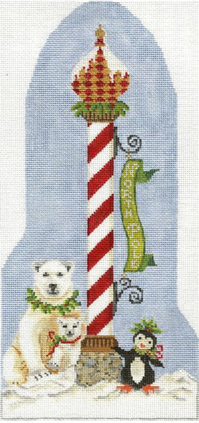 Needlepoint Handpainted Christmas Kelly Clark The North Pole 6x12