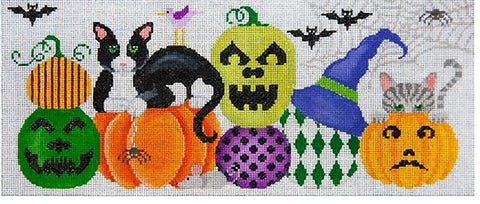 Needlepoint Handpainted Halloween JP Needlepoint Thumbelina in Pumpkin Patch
