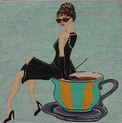 "Needlepoint Handpainted Amanda Lawford TIFFANY""S and TEA 9x9"