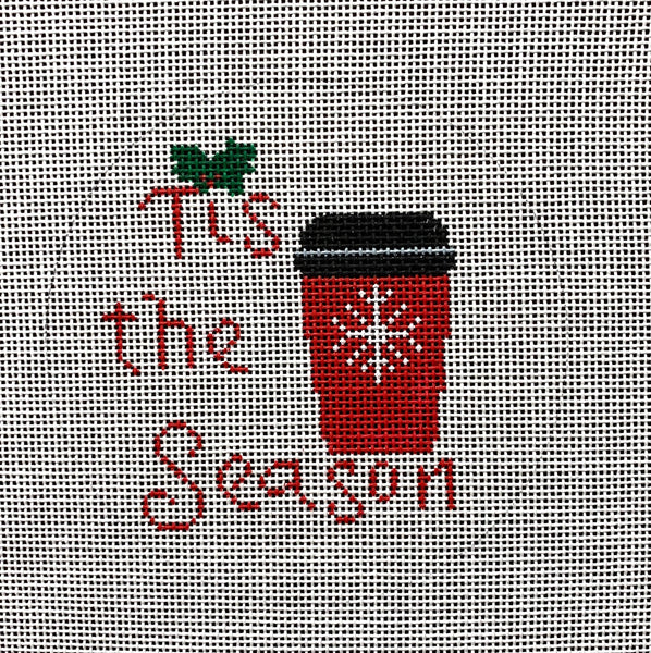 Needlepoint Handpainted CHRISTMAS Suzie Vallerie Tis the Season 4""