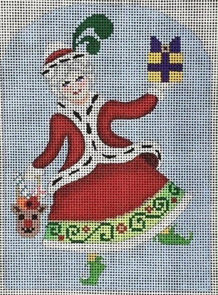 Needlepoint Handpainted CHRISTMAS Brenda Stofft Tis the Season Mrs Claus 4x6