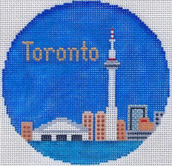Needlepoint Handpainted Silver Needle TORONTO Christmas Ornament Lee