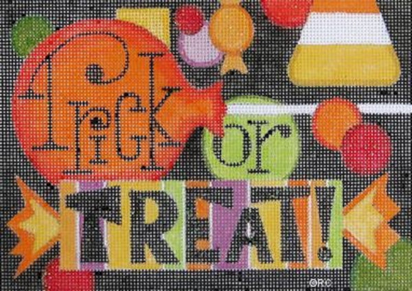 Needlepoint Handpainted Raymond Crawford HALLOWEEN Trick or Treat 5x7