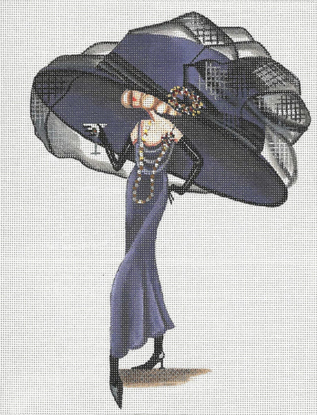 Needlepoint Handpainted Leigh Designs Viola and Martini 11x14
