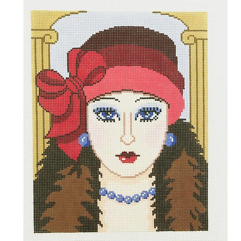 Needlepoint Handpainted LEE Vogue Lady 8x10