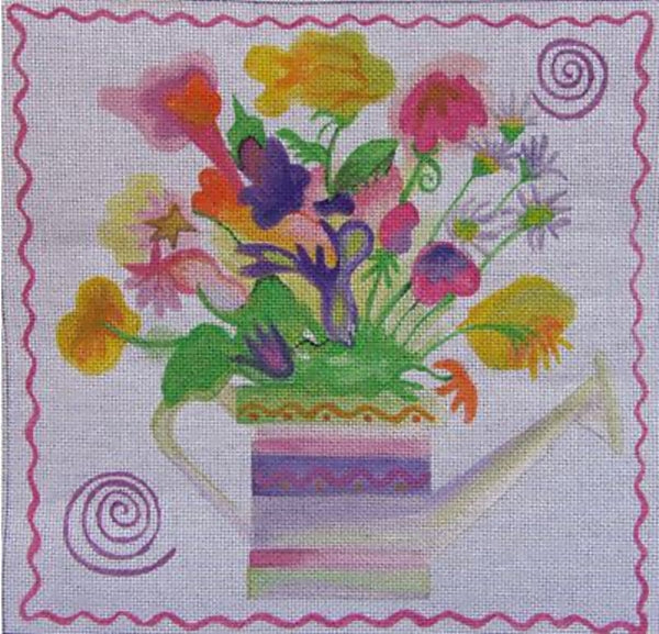 Needlepoint Handpainted Sundance Designs Watering Can Bouquet 10x10