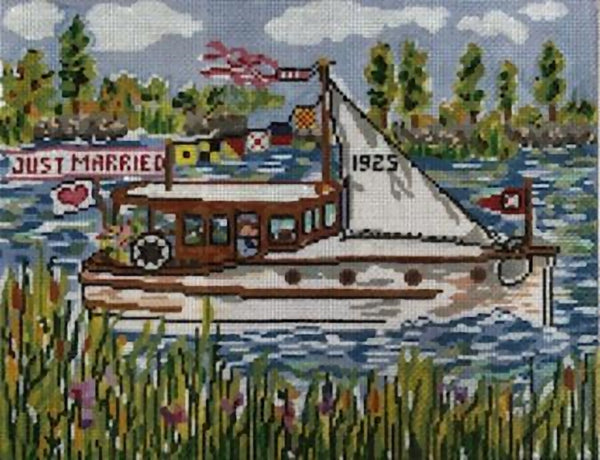 Needlepoint Handpainted Cooper Oaks Wedding Cruise 8x10