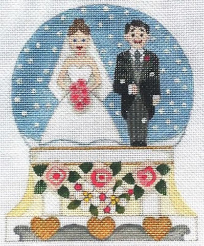 Needlepoint Handpainted Raymond Crawford WEDDING Snowglobe Bride Groom 5x6