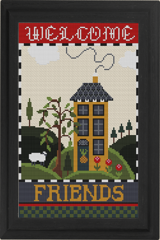 Counted Cross Stitch Kit WELCOME FRIENDS Sampler Creative Needle Arts