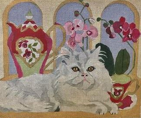 Needlepoint Handpainted Melissa Prince Wheres my Crumpet Cat 12x10