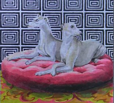 Needlepoint Handpainted Colors of Praise Whippets 15x12