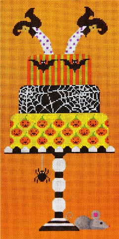 Needlepoint Handpainted HALLOWEEN JP Needlepoint Wicked Witch Takes Cake 6x10