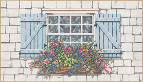 NEEDLEPOINT HANDPAINTED Canvas Sandra Gilmore WINDOW Garden 16x9