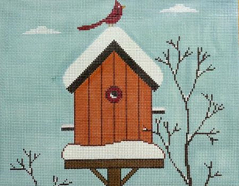 Needlepoint Handpainted Cooper Oaks Winter Birdhouse 10x12