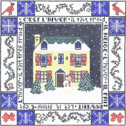 NEEDLEPOINT HandPainted CHRISTMAS Linda Ragno WINTER 12x12