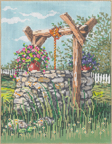 NEEDLEPOINT HANDPAINTED Canvas Sandra Gilmore WISHING Well 7x9