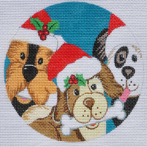 NEEDLEPOINT Handpainted Christmas LAURIE Korsgaden Dog WOOF Ornament 5""