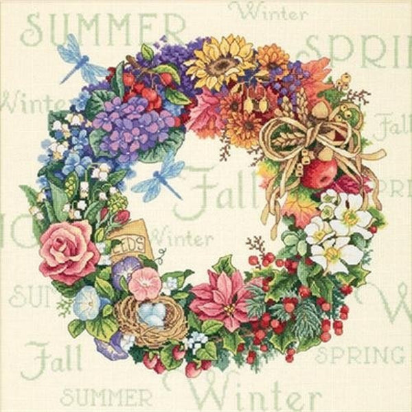 Counted Cross Stitch Dimensions Kit WREATH of ALL SEASONS 14x14