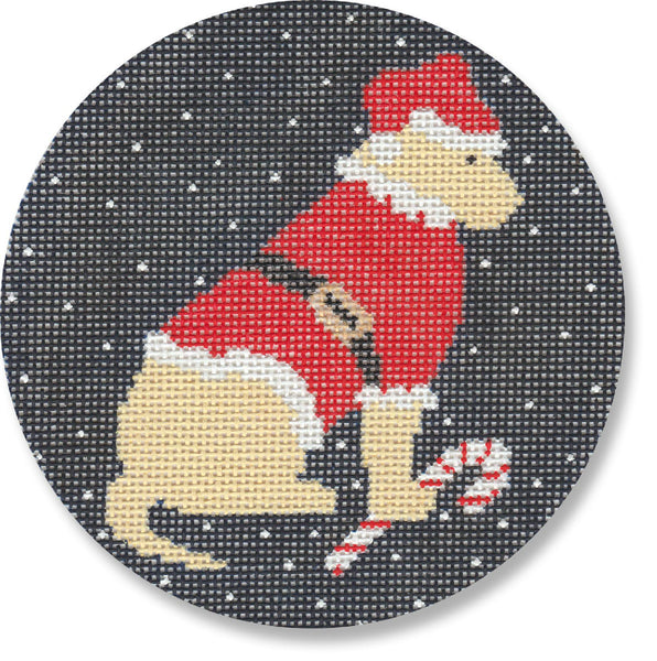 NEEDLEPOINT Handpainted LAURA Megroz CHRISTMAS Dog Ornament YELLOW Lab Santa