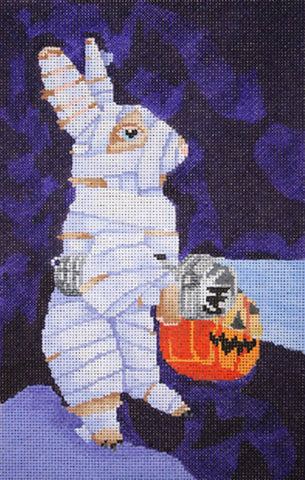 NEEDLEPOINT Handpainted Canvas HALLOWEEN Scott Church Your MUMMYS a BUNNY