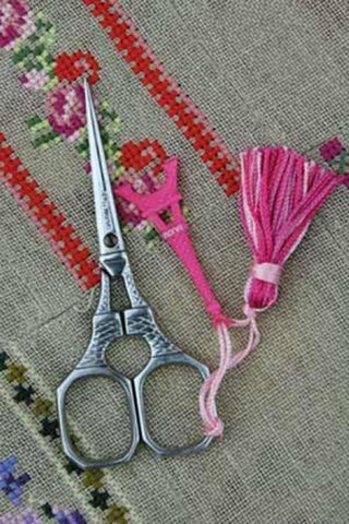 Embroidery SCISSORS Sajou EIFFEL Tower Chrome w Pink Charm 4""