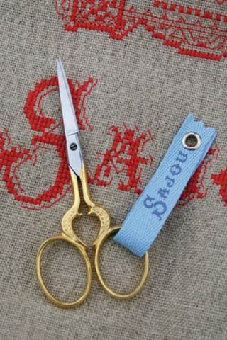 "Embroidery Scissors HEART Gilded GOLD FRENCH Sajou 3.5"" w/ Box"