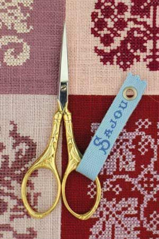 "Embroidery SCISSORS Peacock Gilded GOLD FRENCH Sajou 4"" w/ Box"