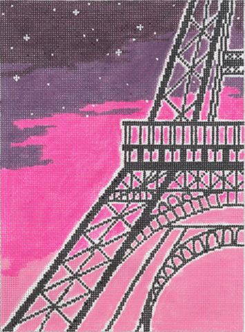 NEEDLEPOINT HANDPAINTED Machelle Somerville Eiffel Tower 18 Hours in PARIS