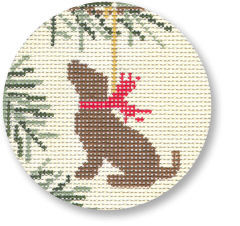 Needlepoint Handpainted CBK Christmas Dog Ornament Chocolate Lab
