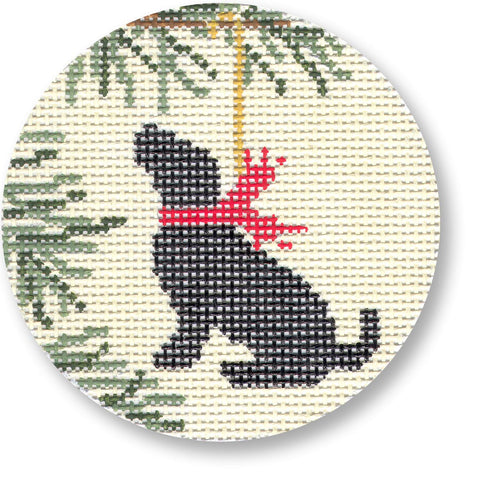 NEEDLEPOINT Handpainted LAURA Megroz CHRISTMAS Dog LAB Ornament Black Lab 4""