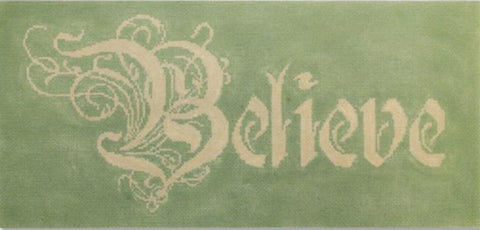 Needlepoint Handpainted STARKE Art Christmas BELIEVE 14.5 x 8.5