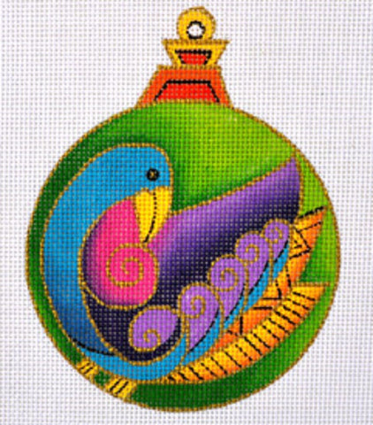 "NEEDLEPOINT Handpainted CHRISTMAS Laurel Burch BIRD Ornament 5"" Round"